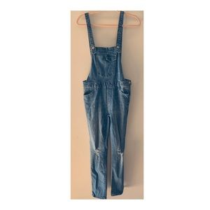 I & M Jeans   Distressed Skinny Fit Overalls